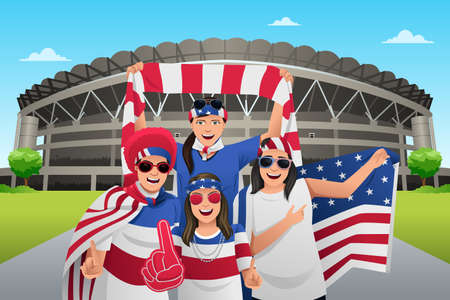 A vector illustration of soccer fans outside of the stadium Illustration
