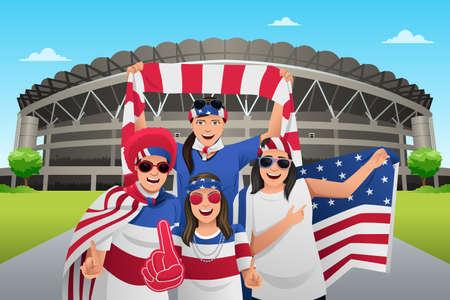 Une illustration de vecteur de fans de football à l'extérieur du stade Banque d'images - 48838867