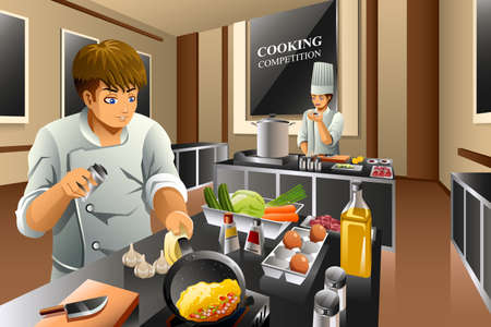competitions: A vector illustration of chef in cooking competition Illustration