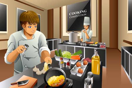 kitchen cartoon: Una ilustraci�n vectorial de chef en concurso de cocina