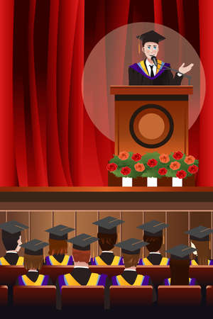 cartoon man: A vector illustration of graduating young man giving a speech