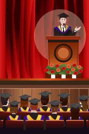 feier: Ein Vektor-Illustration Abschluss junger Mann hält eine Rede