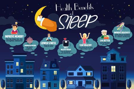 Здоровье: Векторные иллюстрации преимуществ для здоровья инфографики сна