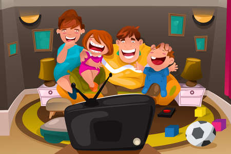 family in living room: A vector illustration of happy whole family watching television together