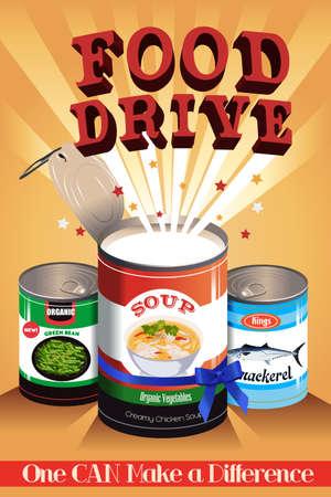 comida: Una ilustración vectorial de diseño de carteles colecta de alimentos Vectores