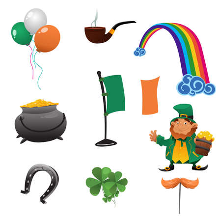 A vector illustration of Saint Patrick day icon sets