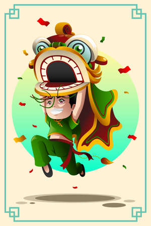A vector illustration of Chinese boy dancing a lion dance