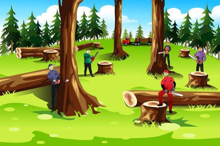 Een vector illustratie van de mensen kappen en exploiteren van bomen in het bos