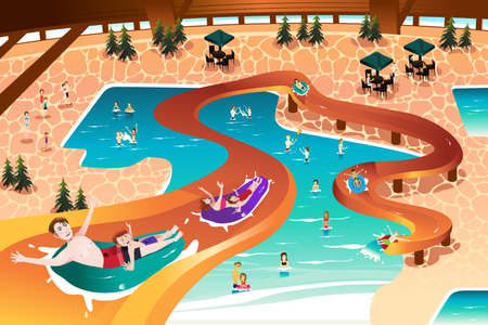 indoor: A vector illustration of happy family vacation in an indoor pool resort Illustration