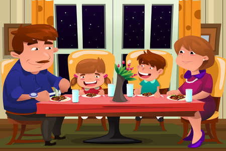 A vector illustration of happy family eating dinner together
