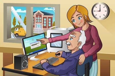 personas mayores: Una ilustración vectorial de una niña de voluntarios enseñando mayor a cómo utilizar un ordenador Vectores