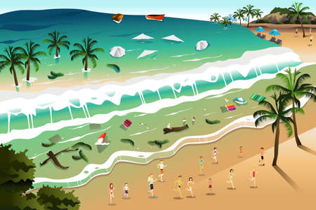 crashing: A vector illustration of giant tsunami waves crashing beach