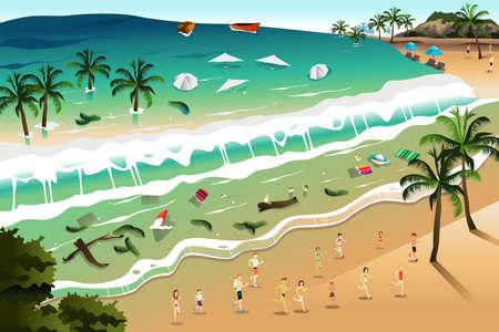 Een vector illustratie van gigantische tsunami golven strand