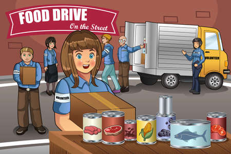 A vector illustration of Volunteers packing up donation boxes Stock Illustratie