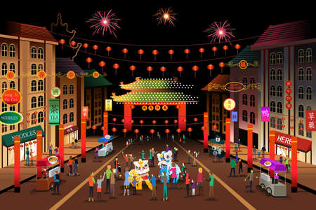 A vector illustration of people celebrating Chinese New Year in a Chinatown