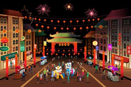 Een vector illustratie van mensen vieren Chinees Nieuwjaar in een Chinatown