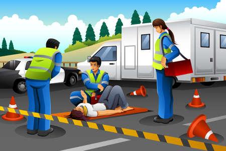 事故後、負傷した少女を助け合う救急救命士のベクトル イラスト