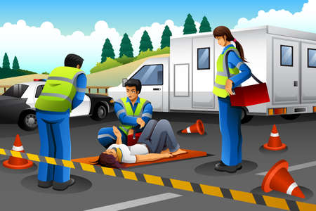 the help: A vector illustration of paramedic giving help to an injured girl after accident Illustration