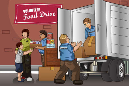 Ein Vektor-Illustration von Freiwilligen packen Spendenboxen