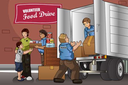 Una ilustración vectorial de los voluntarios de empacar cajas de donación