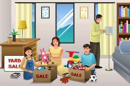 A vector illustration of family sorting items for a garage sale