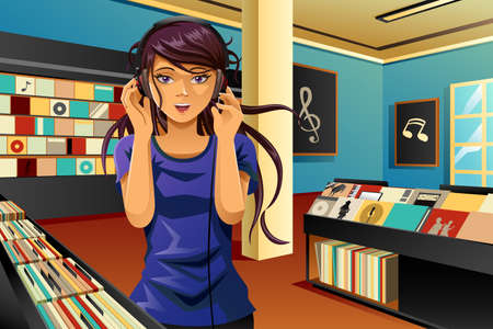 A vector illustration of beautiful woman listening music in a music store Vectores
