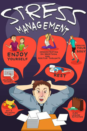 organize: A vector illustration of stress management infographic