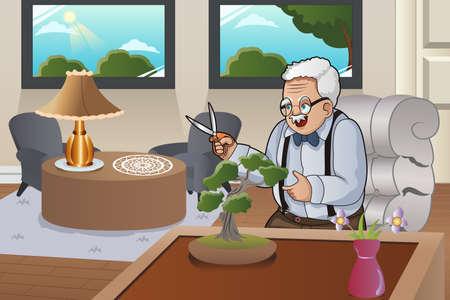 彼の家で彼の盆栽の世話の老人のベクトル図