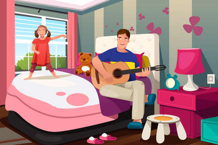 family playing: A vector illustration of Father playing guitar while her daughter dancing in bedroom