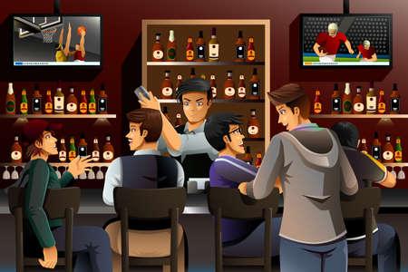 socializando: Una ilustración vectorial de gente reunida en un bar