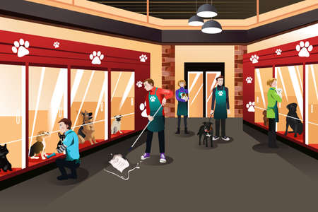 Een vector illustratie van de mensen die werkzaam zijn in dierenasiel
