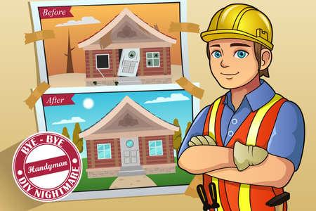 contractor: A vector illustration of handyman or contractor service poster Illustration