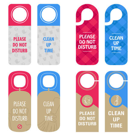 A vector illustration of hotel room do not disturb and clean up time sign Illustration