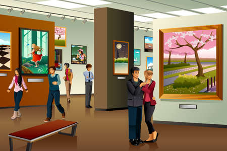 A vector illustration of people visiting an art gallery