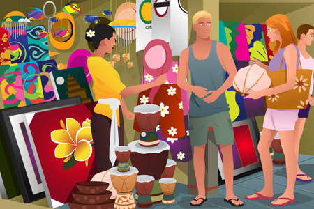 souvenir: A vector illustration of tourist buying local souvenir