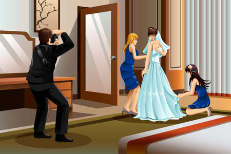 A vector illustration of a photographer taking picture of a bride wearing her wedding gown