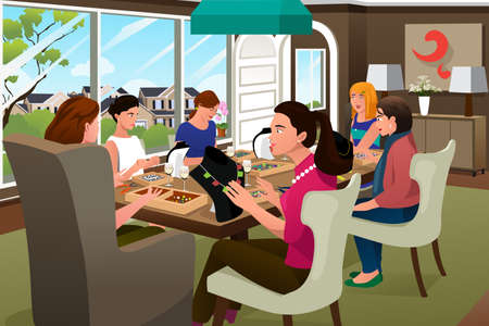 cartoon adult: A vector illustration of woman making handmade jewelries together in a group