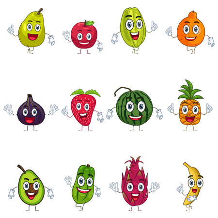on a white background: A vector illustration of fruit in characters