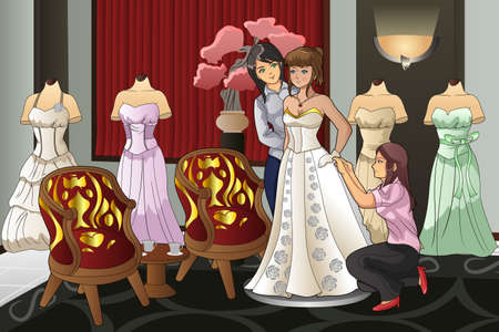 fitting: A vector illustration of beautiful bride fitting her wedding gown