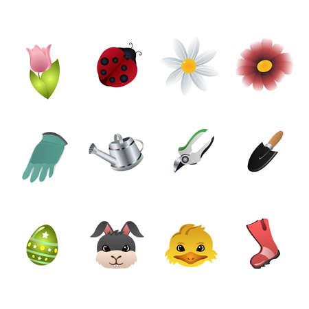 dessin fleur: Une illustration de vecteur de printemps jeux d'ic�nes