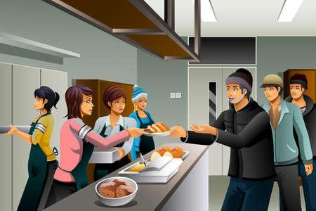 ホームレスの人々 に食料を提供するボランティアのベクトル イラスト
