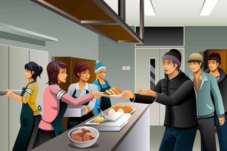 A vector illustration of volunteers serving food to homeless people
