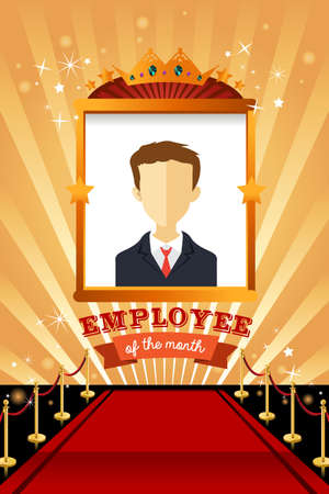 A vector illustration of employee of the month poster frame design Ilustração