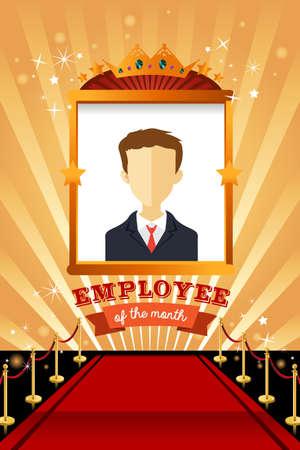Een vector illustratie van de werknemer van de maand poster frame ontwerp