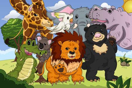 cartoon clipart: A vector illustration of animal kingdom poster