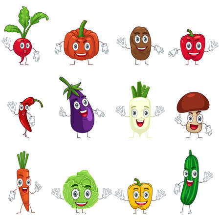 A vector illustration of vegetable in characters