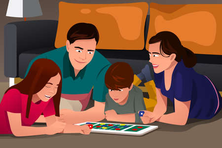 A vector illustration of happy family playing a board game together