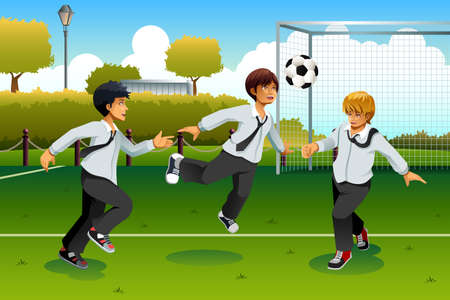 soccer field: A vector illustration of student in uniform playing soccer