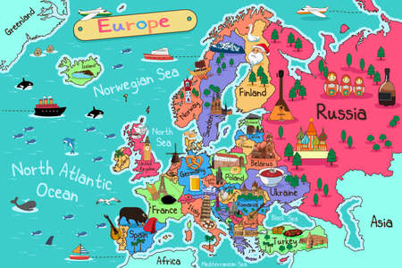 A vector illustration of Europe map in cartoon style