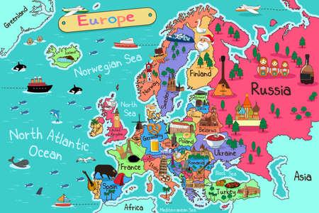 europa: Una ilustración vectorial de la correspondencia de Europa en el estilo de dibujos animados